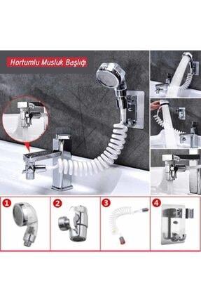 KAYAMU 2 In 1 Spiral Hortumlu Ayarlanabilir Hareketli Banyo Mutfak Lavabo Musluk Duş Başlığı