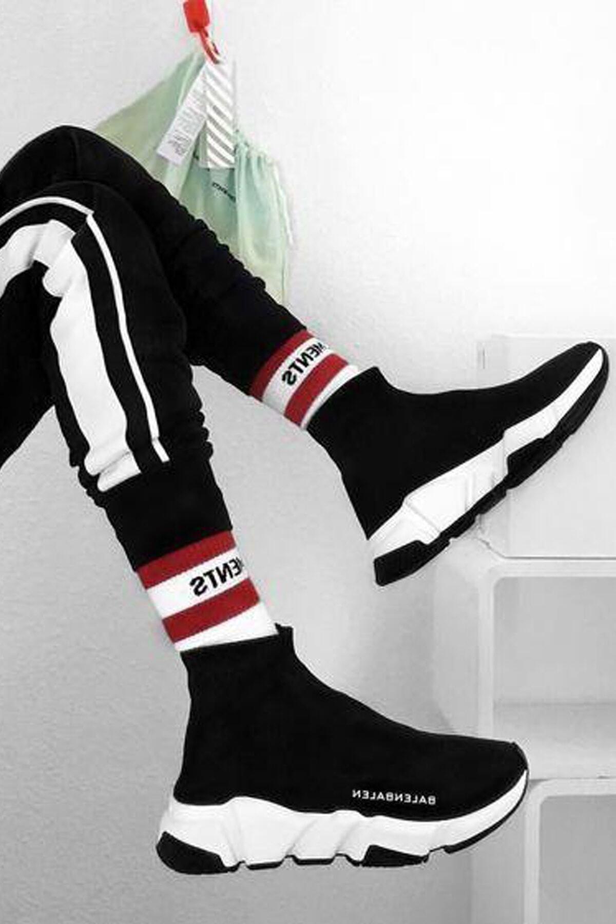 SHOELAND Siyah Beyaz Çoraplı Spor Ayakkabı 1