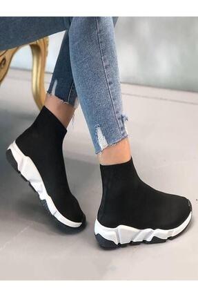 NOVELYA Kadın Siyah Çoraplı Yüksek Taban Sneakers Ayakkabı