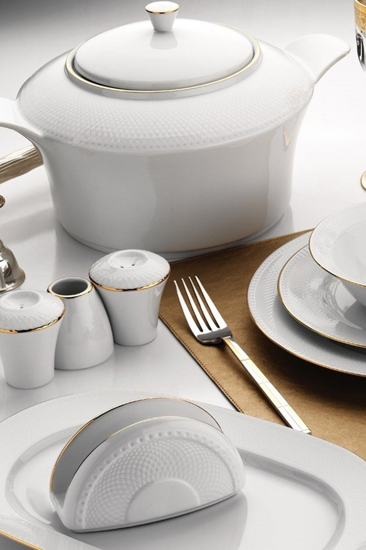 Kütahya Porselen Zümrüt 84 Parça Altın Fileli Yemek Takımı 1
