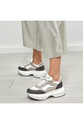 Butigo 19SF-2061 Gri Kadın Kalın Taban Sneaker Spor Ayakkabı 100530977