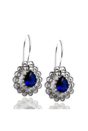 Midyat Gümüş Dünyası Mavi Taşlı Telkari Gümüş Bayan Küpe (Kod 2020721b)