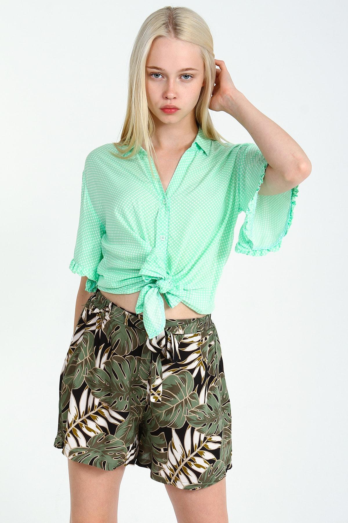 Collezione Mint Kadın V Yaka Belden Bağlamalı Gömlek Kısa Kol 1