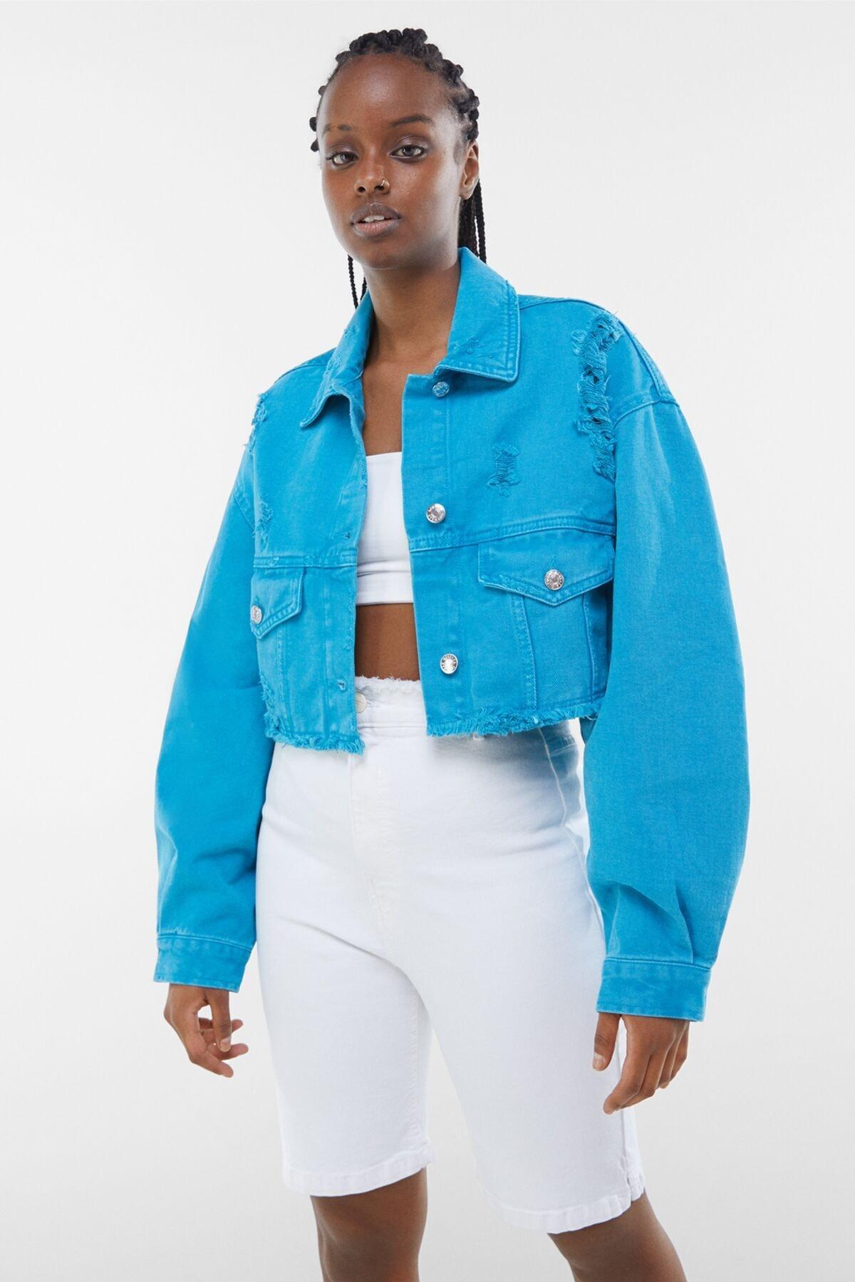 Bershka Kadın Mavi Acid Wash Distressed Ceket 01308019