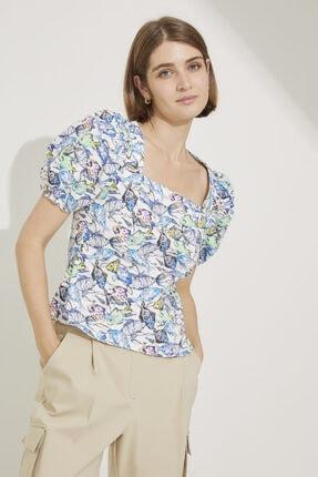 adL Kadın Emp.Mavi Balon Kol Arkası Gipeli Bluz