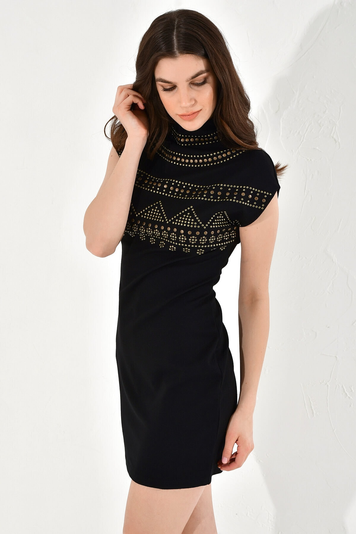 Hanna's by Hanna Darsa Kadın Taş Çakmalı Kolsuz Örme Elbise 2
