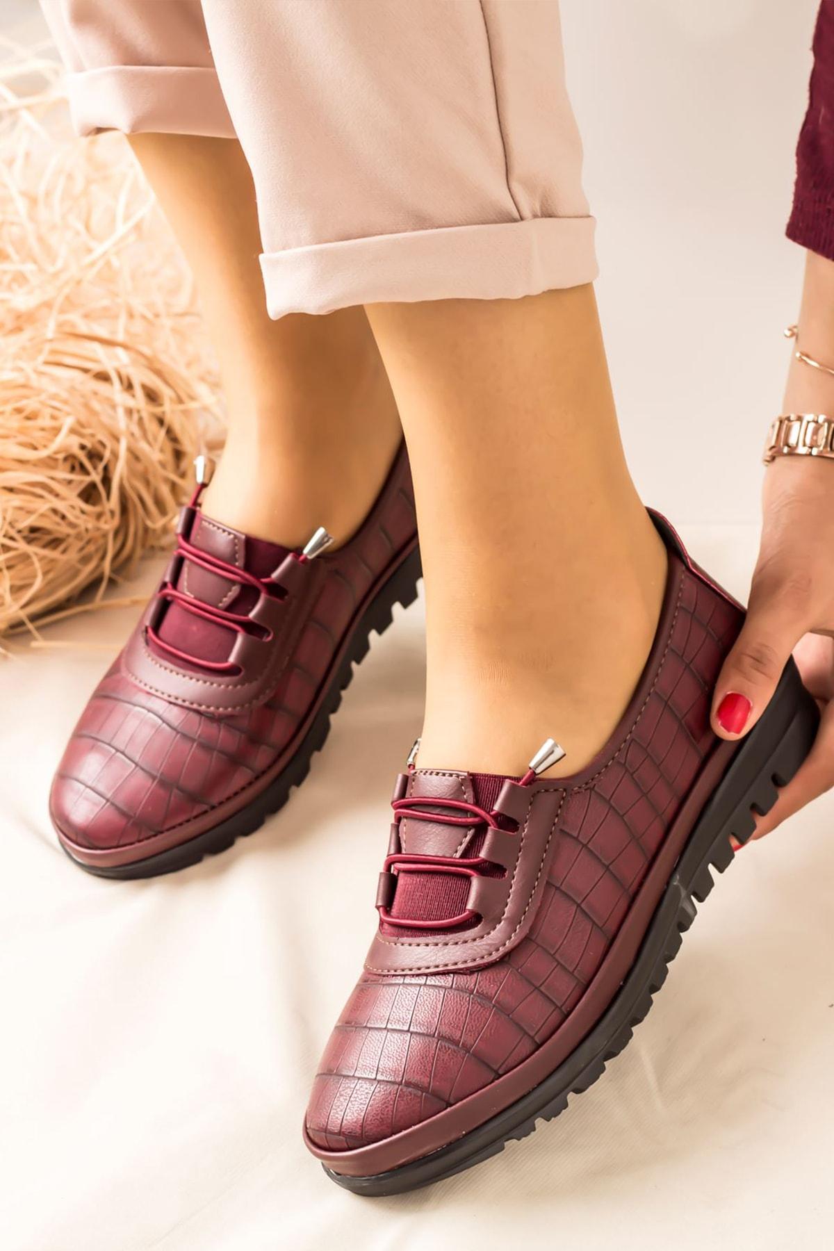 Lal Shoes & Bags Arica Kroko Ortopedik Rahat Kadın Ayakkabı-bordo 2