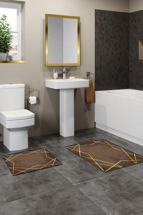 colizon 60x90 - 50x60 Dijital Banyo Halısı Kaymaz Tabanlı Klozet Takımı 2'li Paspas Seti