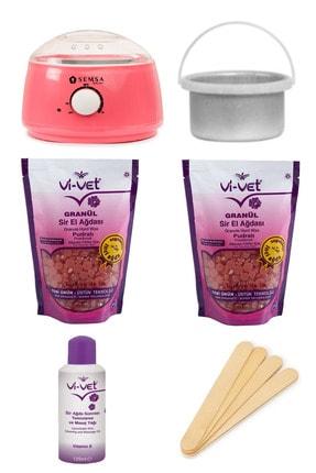 Vi-vet Pudralı Soyulabilir Ağda Seti, Makine Cezveli, 2 Granül Boncuk Ağda, Ağda Yağı, Ağda Spatulası