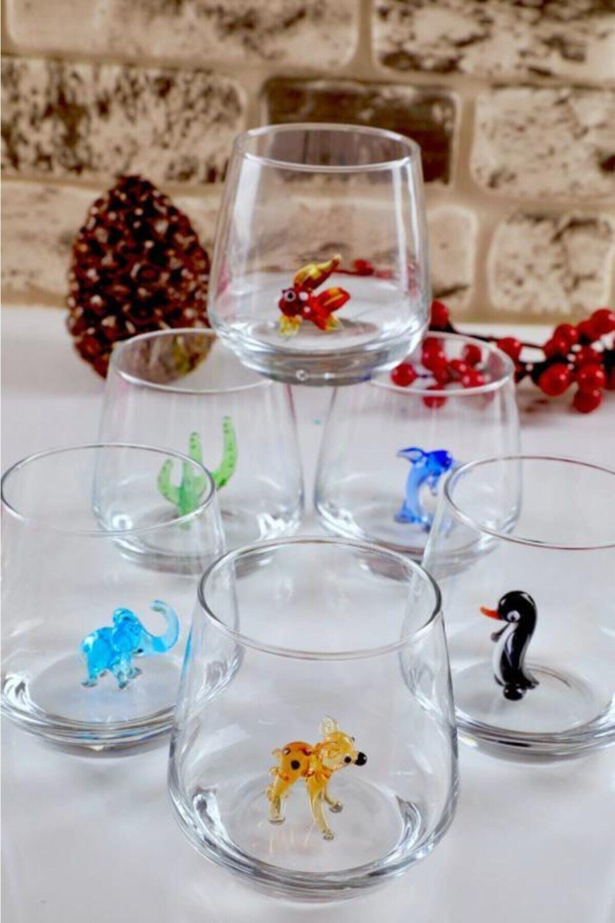 mosaicturk Hayvan Figürlü 6'lı Su Bardağı Seti (Lal Seri) 2