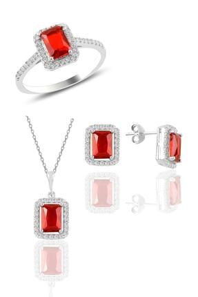 Söğütlü Silver Gümüş Rodyumlu Kırmızı Taşlı Baget Üçlü Set