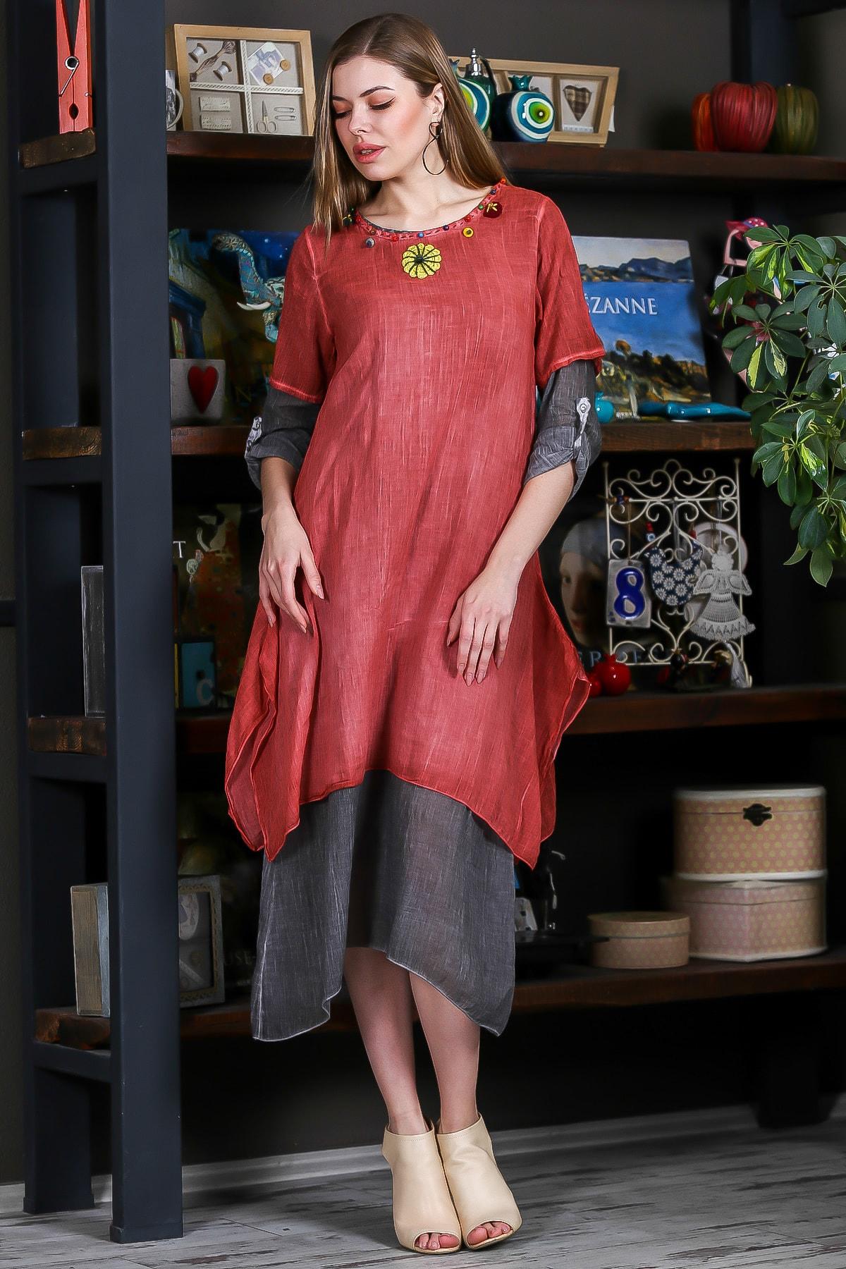 Chiccy Kadın Kiremit Sıfır Yaka El İşi Çiçek İşleme Duble Kiremit Gri Yıkamalı Elbise M10160000EL95251