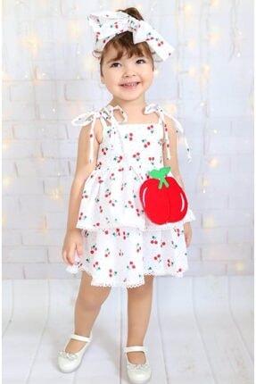 Buse&Eylül Bebe Kız Çocuk Kırmızı Çantalı Kiraz  Elbisesi
