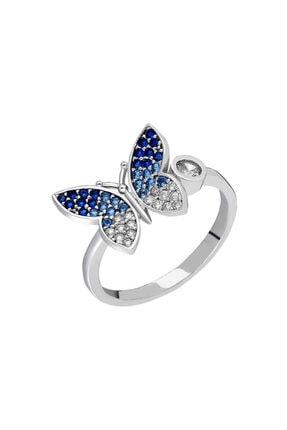 Clover Silver Design Kadın Mavi Zirkon Taşlı Kelebek Tasarım 925 Ayar Gümüş Yüzük