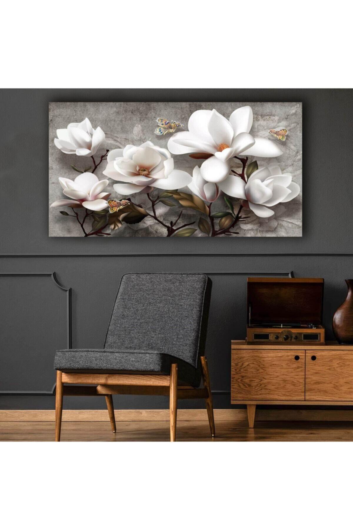 Seİs Tablo Beyaz Çiçekler Modern Kanvas Tablo 120x70 1