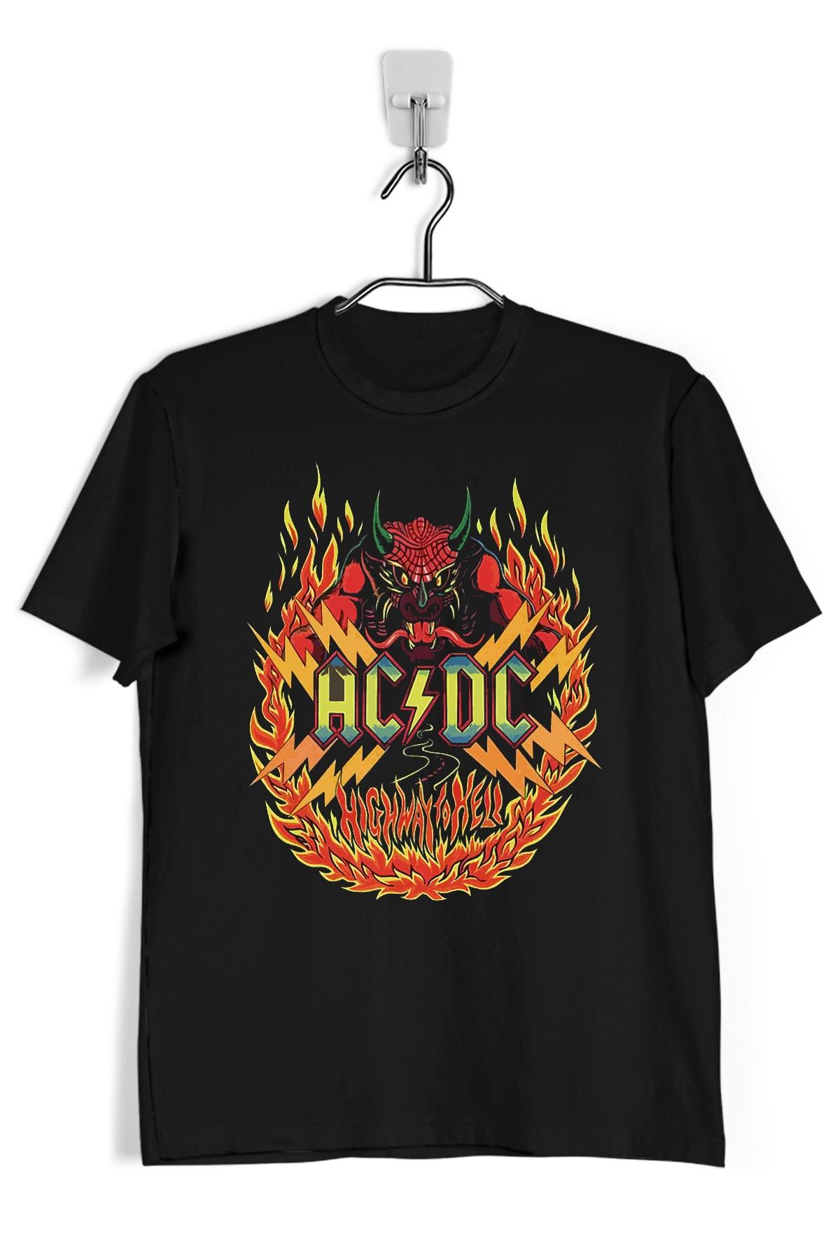Tişört Mania Acdc_8  Siyah  Kadın T-shırt 1