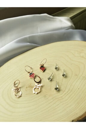 Accessories 6'lı Gold Çilek Küpe Set