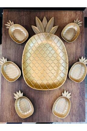 ersustore Ananas Tepsi Ve 6'lı Cerezlik Seti