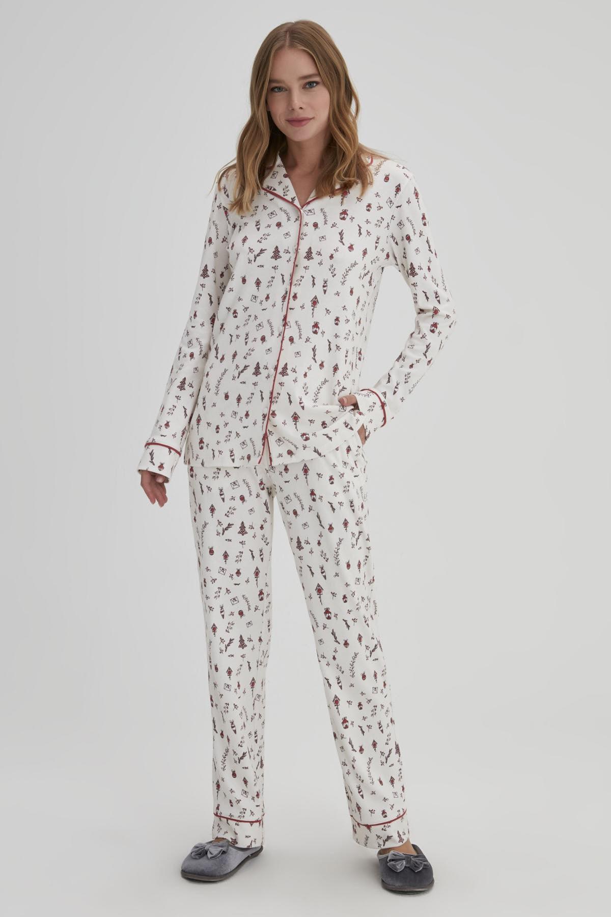 Dagi Gül Kurusu Kadın Interlok Gömlek Pijama Takımı 1