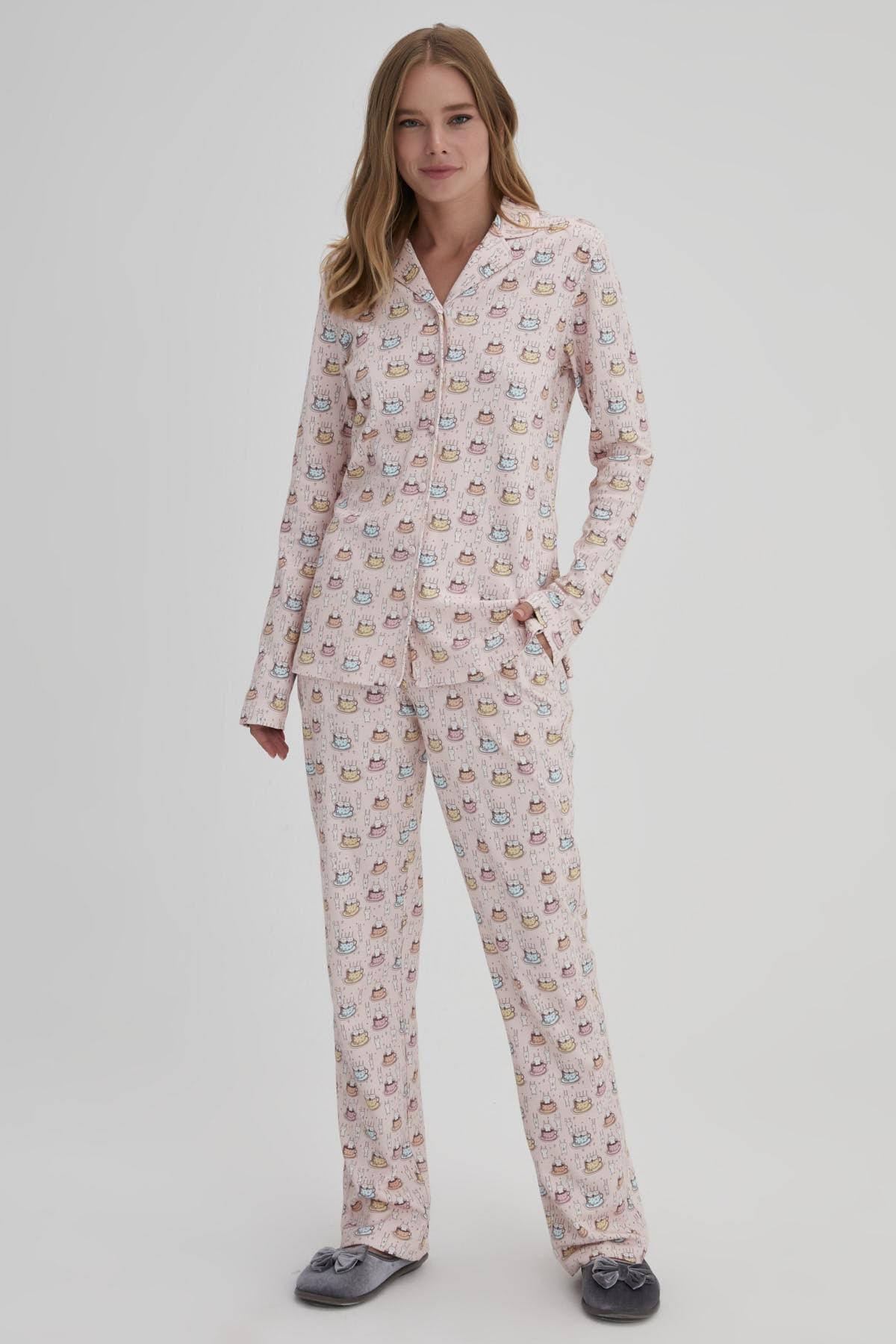 Dagi Pembe Kadın Tavşan Baskılı Gömlek Pijama Takımı 1