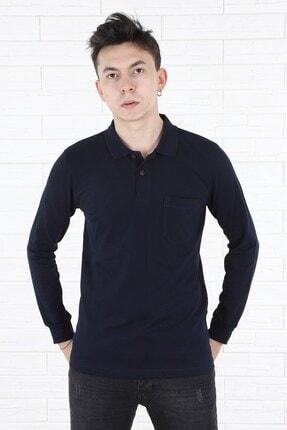 Arlin Erkek Cepli Düğmeli Pola Yaka Uzun Kol Lacivert T-shirt