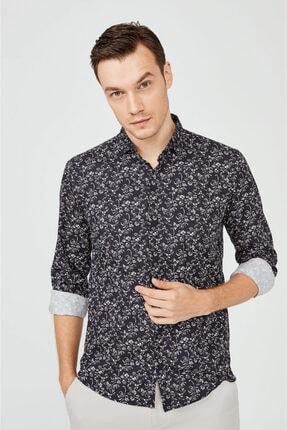 Avva Erkek Lacivert Baskılı Klasik Yaka Slim Fit Gizli Patlı Gömlek A02y2051