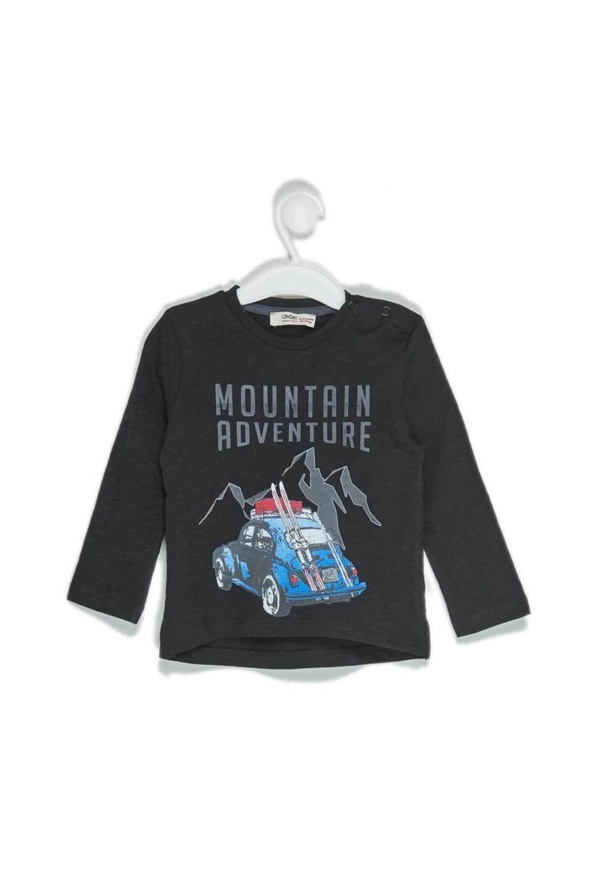 Çikoby Erkek Bebek Araba Baskılı Omuzu Patlı Sweatshirt 1