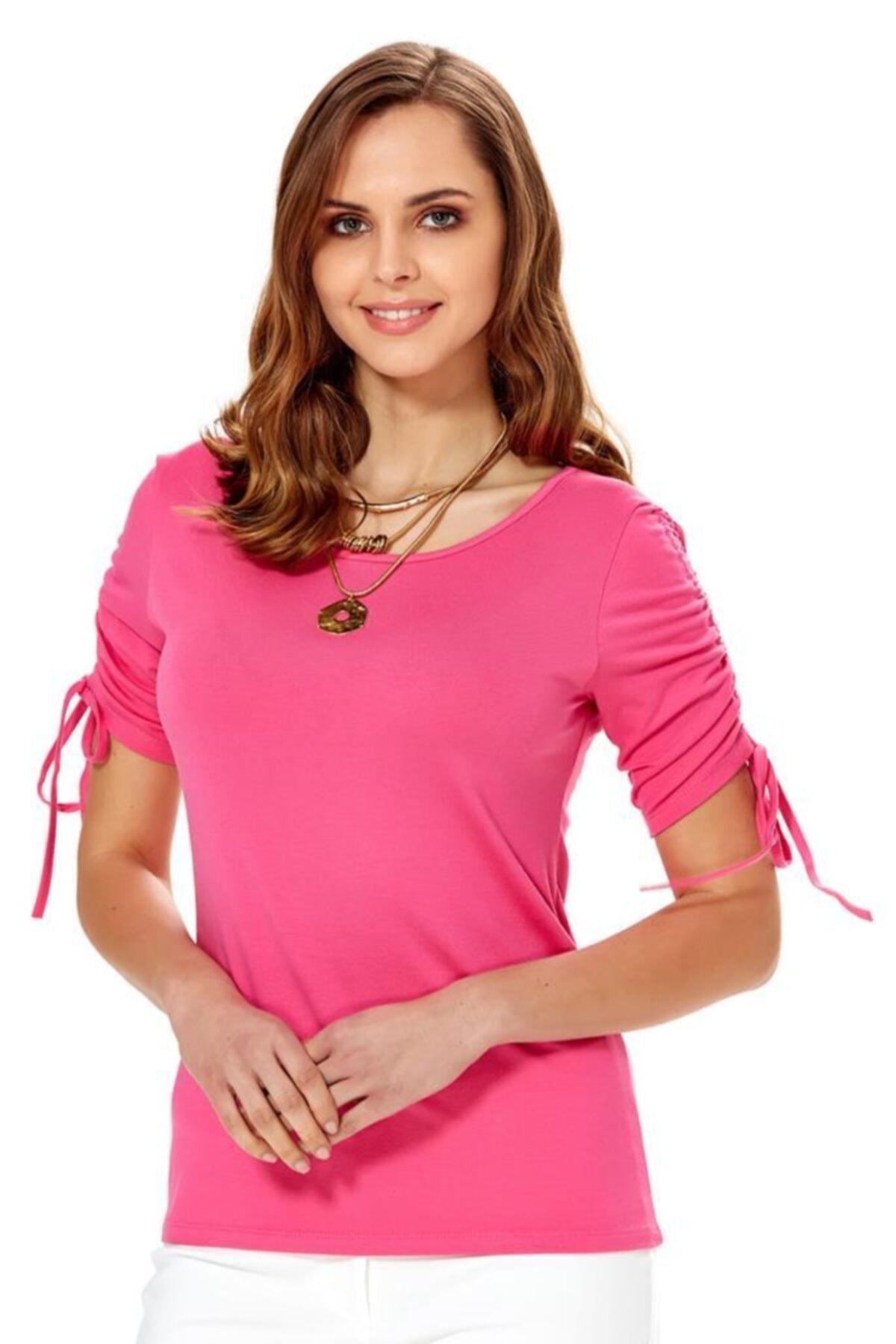 İKİLER Kadın Açık Fuşya Kolu Bağcıklı Bluz 018-1009 2