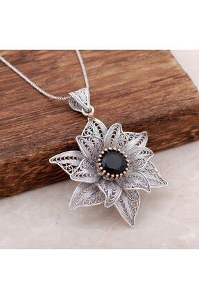 Sümer Telkari Kadın Telkari İşlemeli Safir Taşlı Tasarım Gümüş Kolye 3888