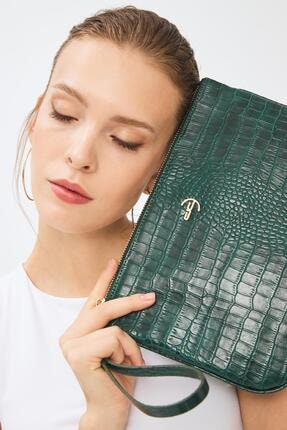 Deri Company Kadın Basic Clutch Çanta Kroko Timsah Desen Yeşil 214002