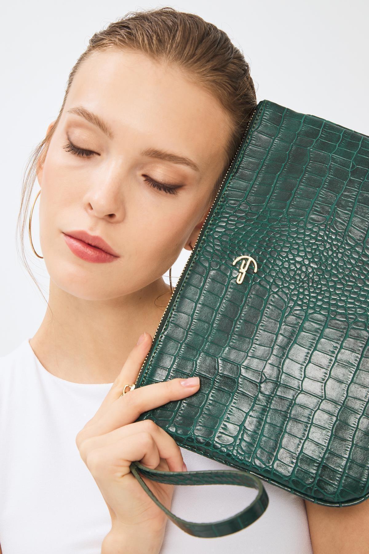 Deri Company Kadın Basic Clutch Çanta Kroko Timsah Desen Yeşil 214002 1