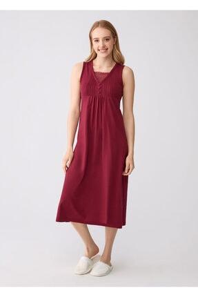 Dagi Vişne V Yaka Modal Kumaş Kadın Kolsuz Gecelik
