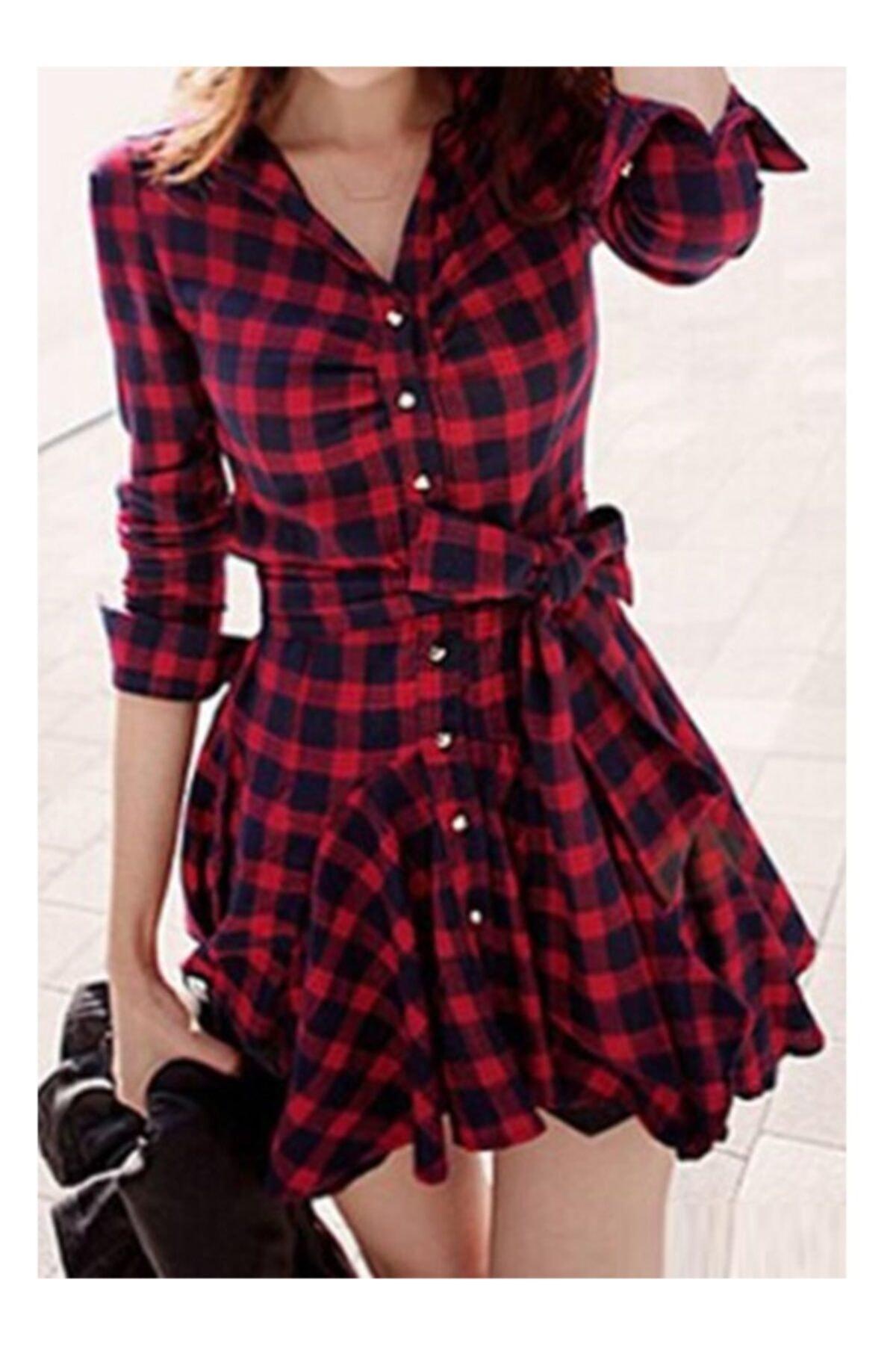lovebox Kadın Ekose Desenli Kırmızı Tunik Gömlek Elbise 1