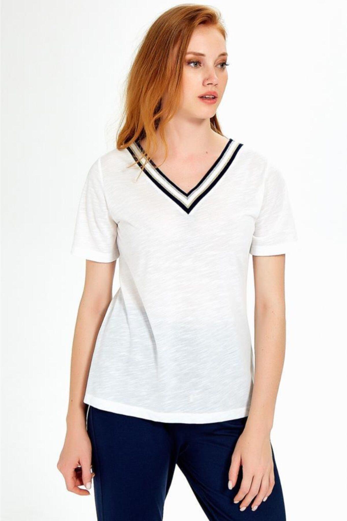İKİLER Kadın Kırık Beyaz Yakası Sim Bantlı Kısa Kol Flam Bluz 1