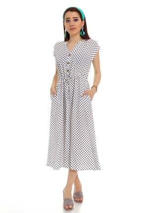 STAMINA 4el11 V Yaka Puanlı Önü Bağcıklı Kolsuz Elbise