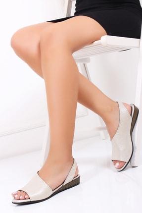 Deripabuc Hakiki Deri Bej Simli Kadın Deri Sandalet Dp15-0051