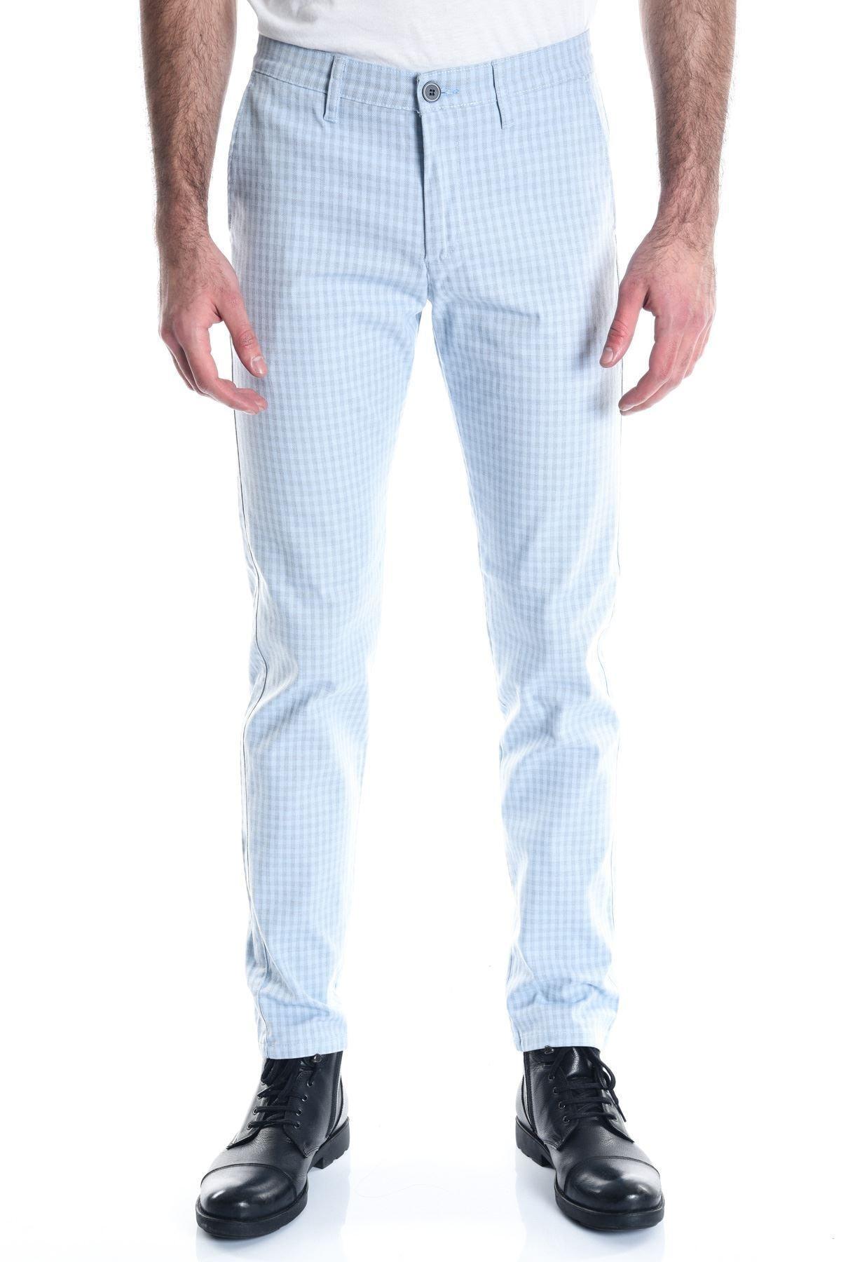 LTC Jeans Ekose Buz Mavi Slimfit Erkek Pantolon 1