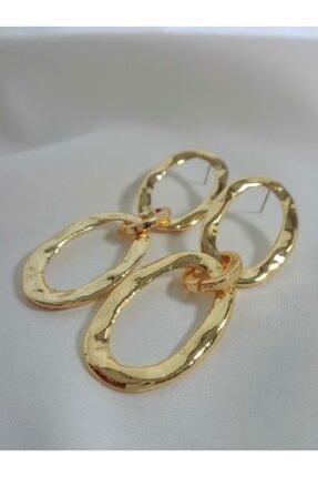 Accessories Üç Halkalı Zincir Gold Küpe