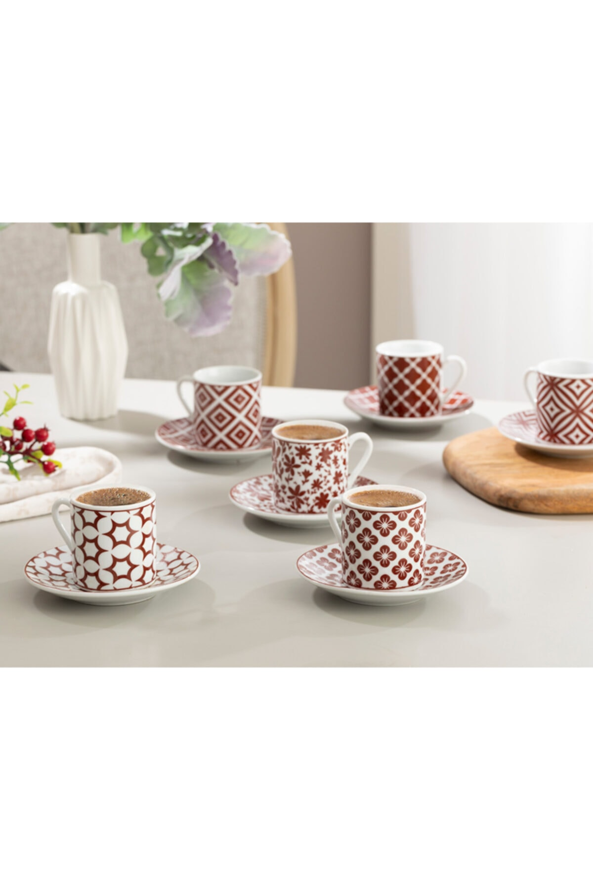 English Home Bordo Mira Porselen Kahve Fincan Takımı 80 ml 2