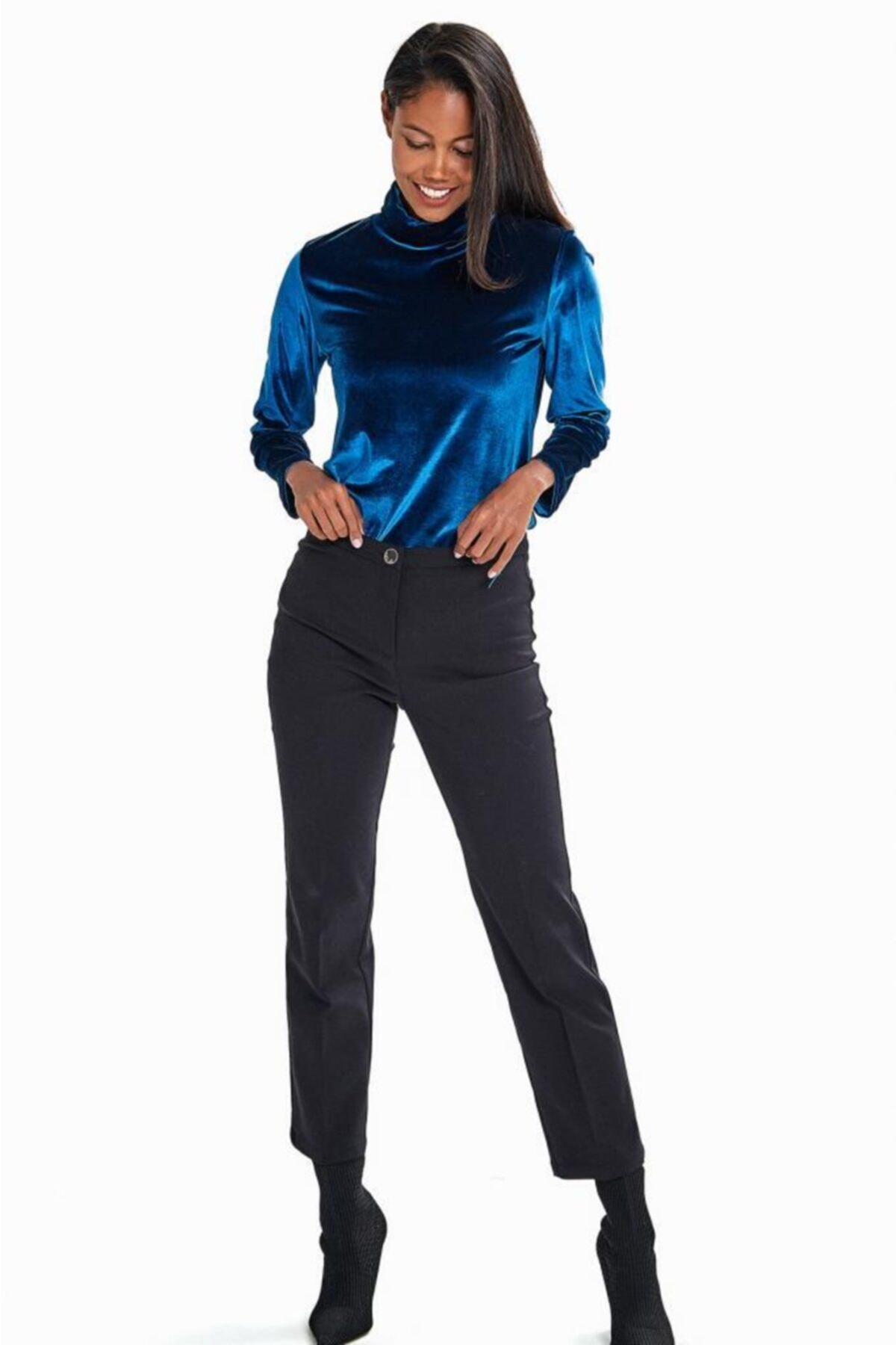 İKİLER Kadın Siyah Tek Düğmeli Relax Fit Pantolon 2