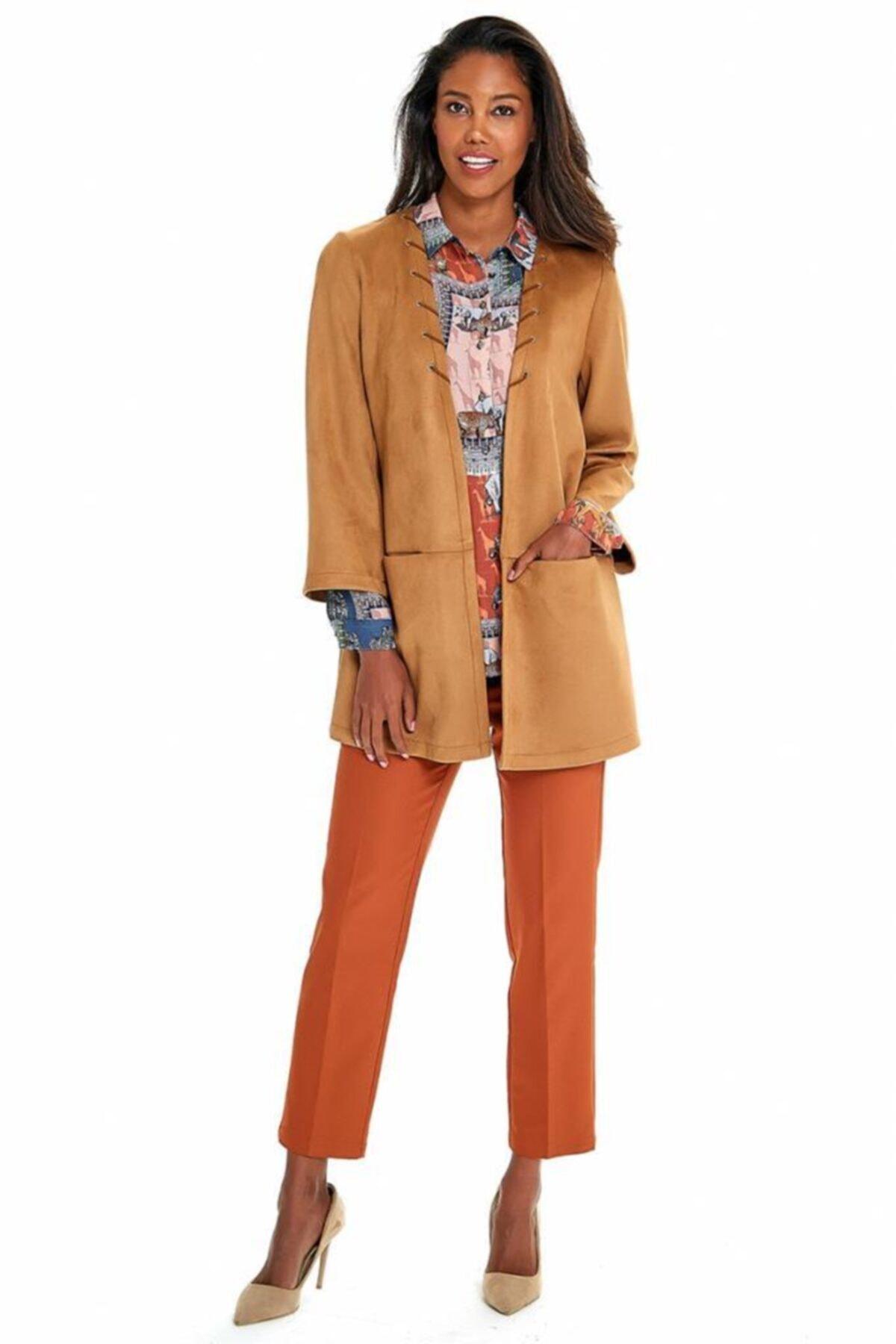 İKİLER Kadın Kahverengi Cepli Uzun Süet Ceket 2