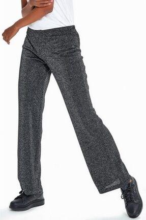 İKİLER Kadın Siyah Beli Lastikli Simli Pantolon