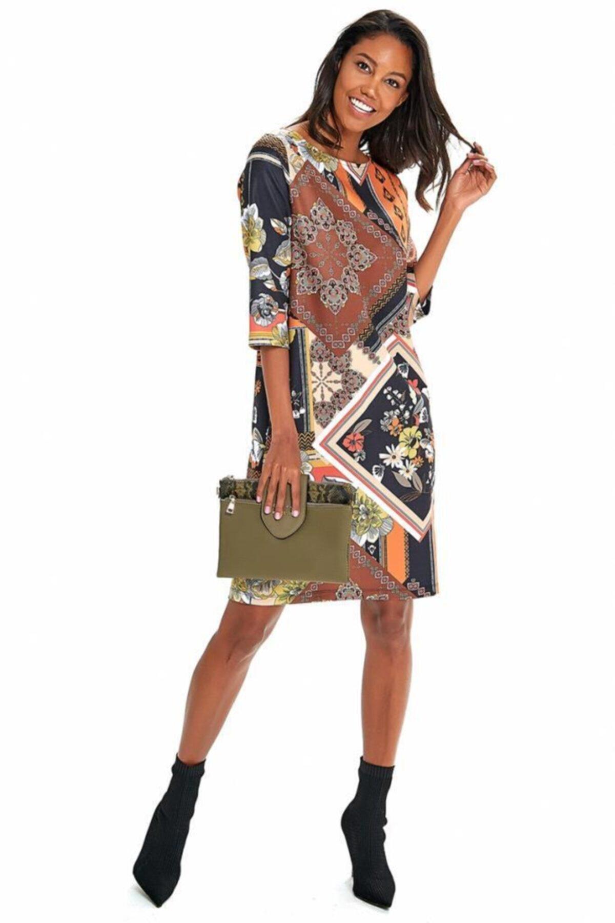 İKİLER Kadın Kahverengi Truvakar Kol Etnik Desenli Elbise 190-4026 2