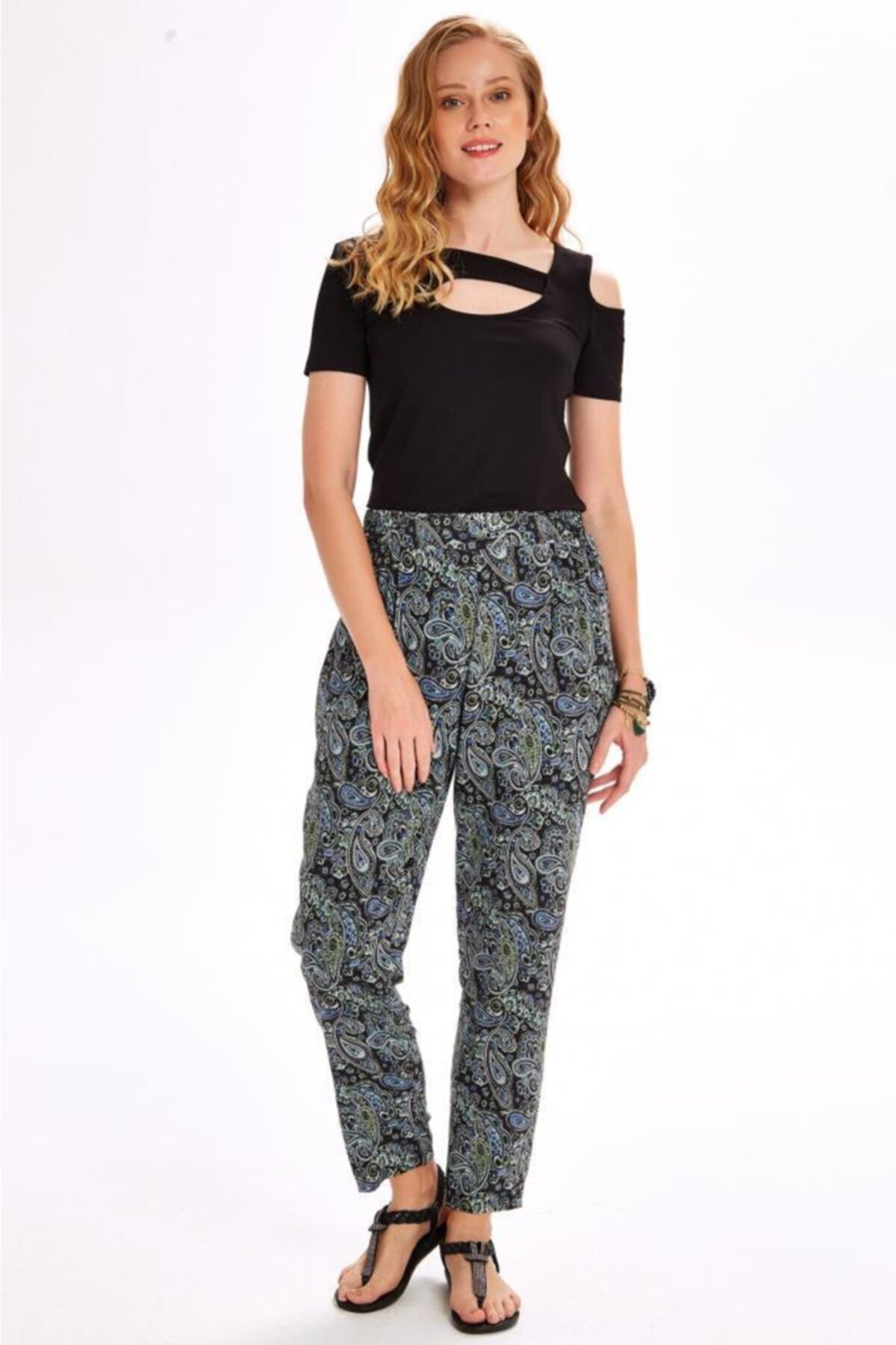 İKİLER Kadın Lacivert Beli Lastikli Şal Desen Pantolon 020-3519 2