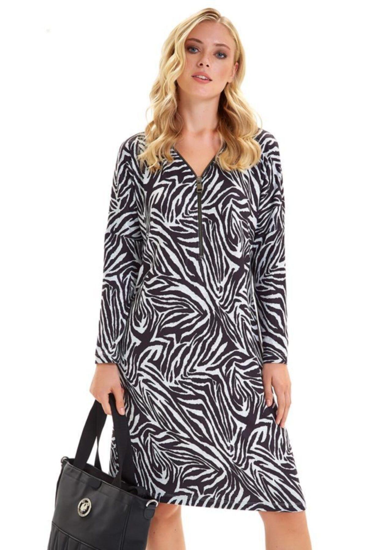 İKİLER Yakası Metal Fermuarlı Zebra Desen Elbise 201-2511 1