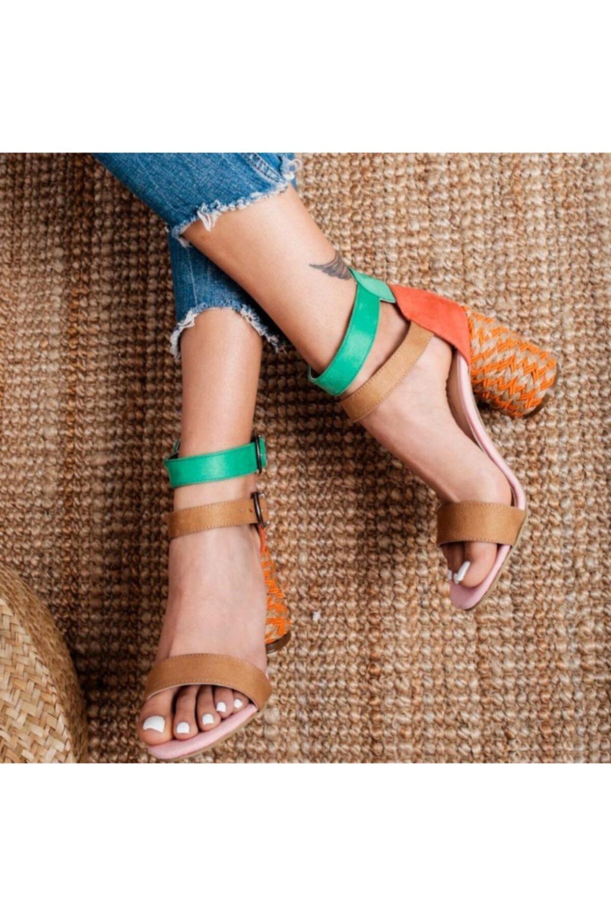 Limoya Galilea Kum Oranj Yeşil Çift Bantlı Gerçek Hasır Topuklu Sandalet 2