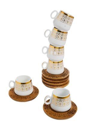 Bambum Ottoman 6 Kişilik Kahve Takımı Desen Altlıklı
