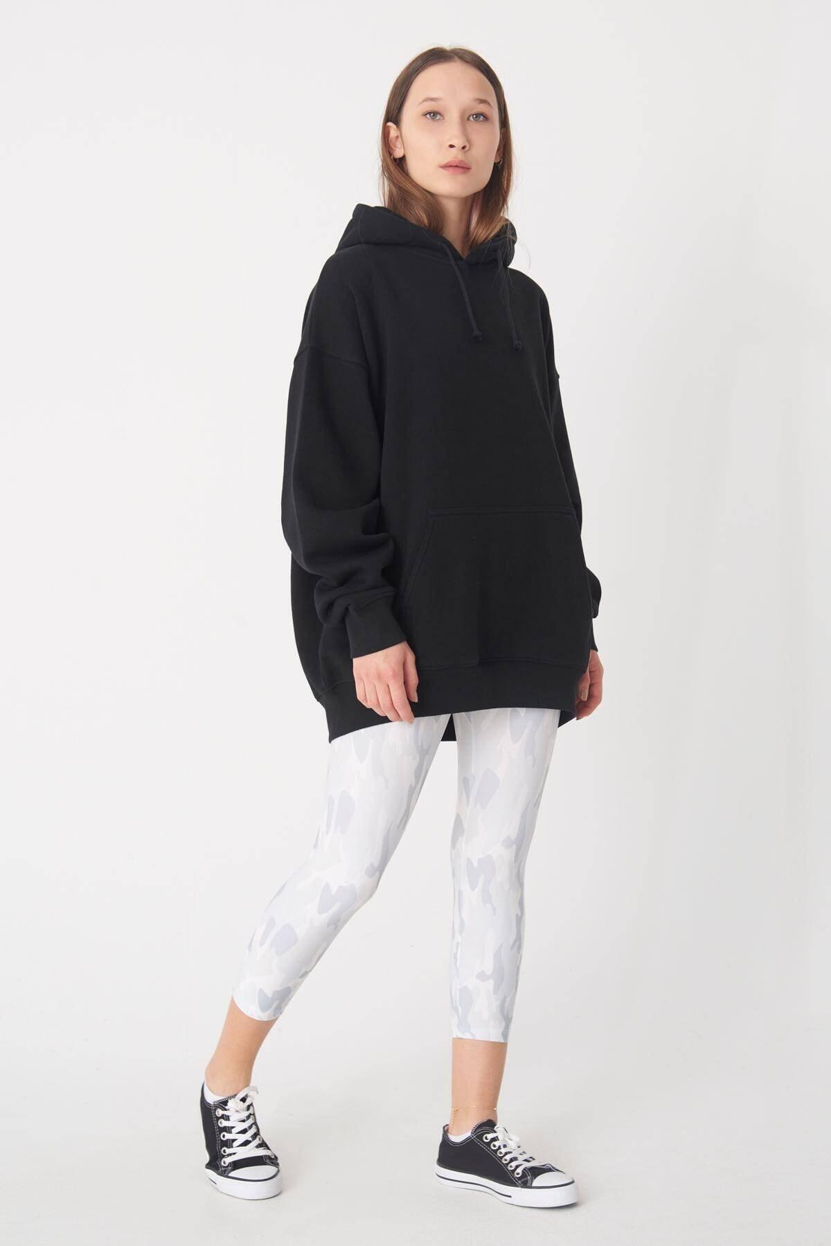 Addax Kadın Siyah Kapüşonlu Uzun Sweat S9477 - S7 ADX-0000022987 2