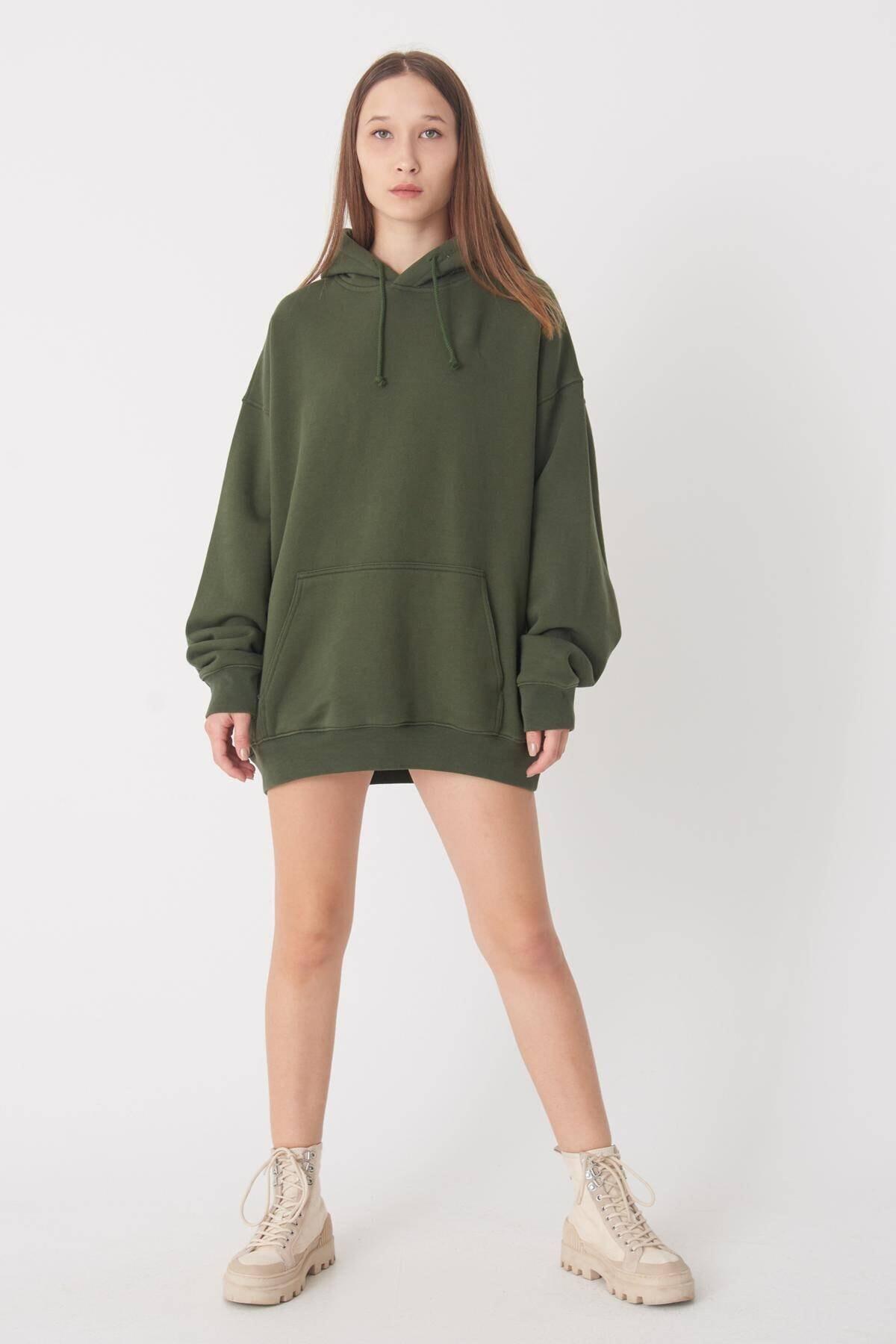 Addax Kadın Yeşil Kapüşonlu Uzun Sweat S9477 - S7 ADX-0000022987 1