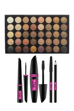 Makeuptime 40 Renkli Göz Far Paleti Ve Mt Rimel,eyeliner,göz Kalemi Seti